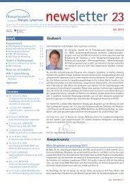 Newsletter Nr. 23 ansehen - Kompetenznetz Maligne Lymphome