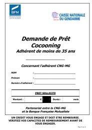 Demande de Prêt Cocooning - Caisse Nationale du Gendarme