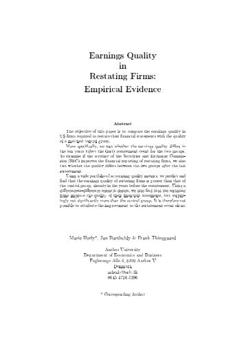 Earnings Quality in Restating Firms: Empirical Evidence - D-CAF