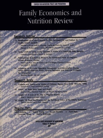 call for papers - Center for Nutrition Policy and Promotion - US ...