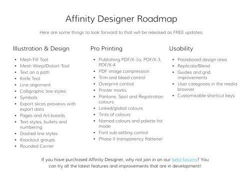 Affinity Designer Roadmap
