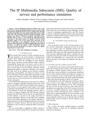 The IP Multimedia Subsystem (IMS). Quality of service and ... - DIT