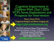 Cognitive Impairments in Children with VCFS: Some Explanations ...
