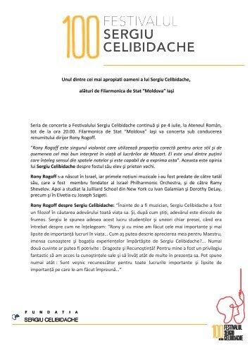 Citeste comunicatul de presa - Fundatia Celibidache