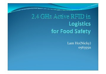 RFID in Logistics for Food Safety