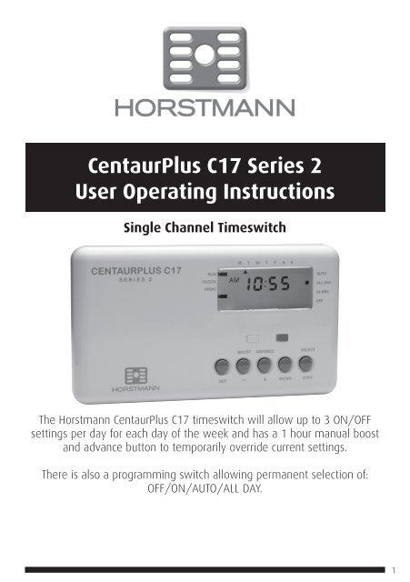 Horstmann Centaurplus C17 Programmer Timer Timeswitch 7 DAY HEATING CONTROL NEW