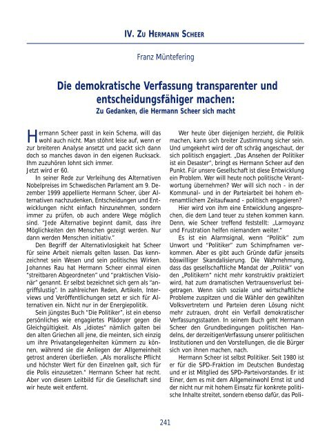 Die demokratische Verfassung transparenter und ... - Hermann Scheer