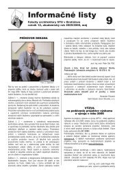 Informačné listy - Fakulta architektúry STU