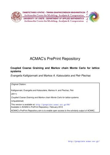 Download (275Kb) - ACMAC's PrePrint Repository