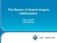 Basics of SEO - AIM Institute