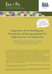 Integration durch Beteiligung – Partizipative Bildungsangebote für ...