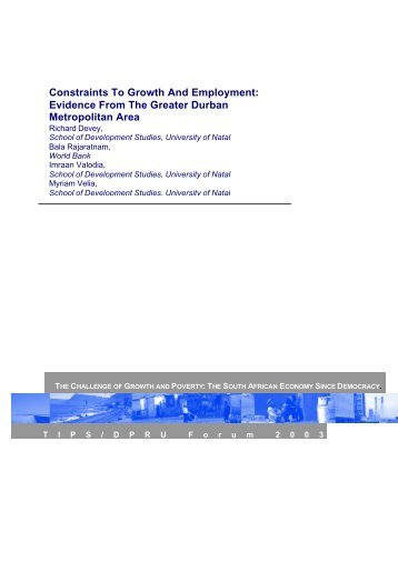 Constraints To Growth And Employment: Evidence From The ... - tips