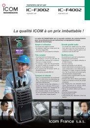 Documentation commerciale IC-F3002 F4002 - Icom France