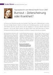 Burnout - Zeiterscheinung oder Krankheit? (Leading Opinions, 1/2008)