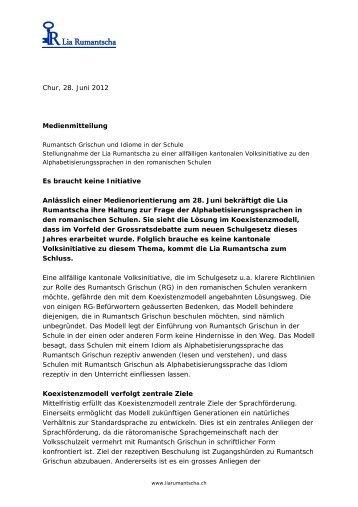 Medienmitteilung LR 28.06.2012 - Lia Rumantscha