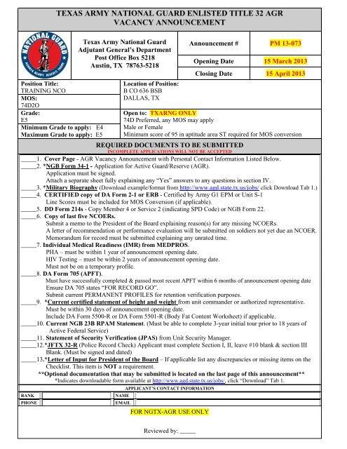 Training Nco Mos 74d Preferred Any Mos May Apply