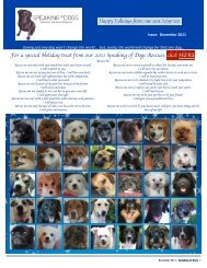 SPEAKING OF DOGS DECEMBER 2011 NEWSLETTER