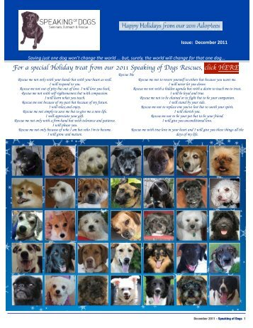 SPEAKING OF DOGS DECEMBER 2011 NEWSLETTER