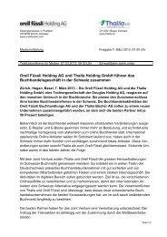 Orell Füssli Holding AG und Thalia Holding GmbH führen das ...