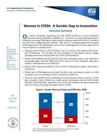 Women in STEM Gender Gap to Innovation August 2011 Dept of Commerce