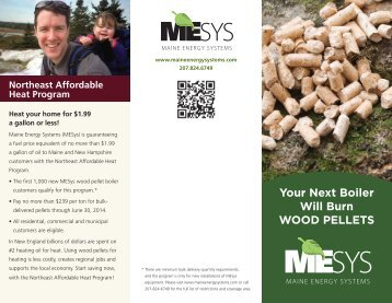 Your Next Boiler Will Burn WOOD PELLETS - Maine Energy Systems