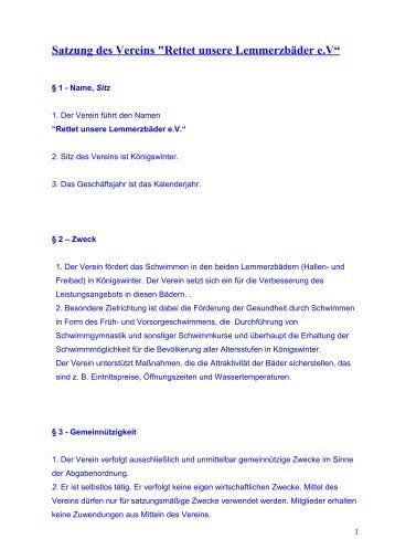 "Satzung des Vereins ""Rettet unsere Lemmerzbäder e"