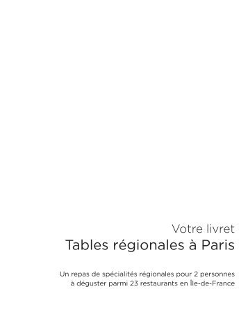 Tables régionales à Paris - E-Merchant