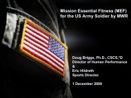 Mission Essential Fitness (MEF) for  the US Army ... - Fort Bliss MWR
