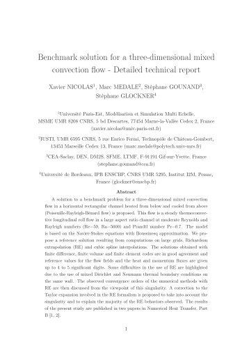 Benchmark solution for a three-dimensional mixed convection flow ...