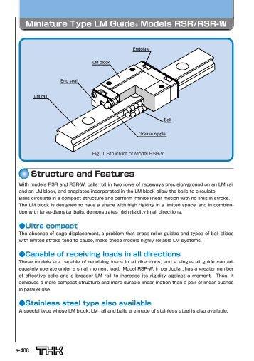 Miniature Type Lm Guide Models Rsr Rsr W Linear Bearings