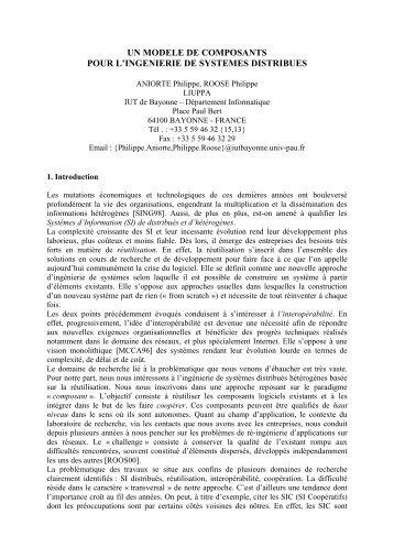UN MODELE DE COMPOSANTS POUR L ... - IUT Bayonne