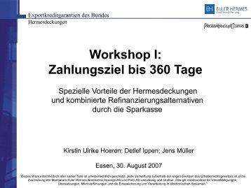 Workshop I: Zahlungsziel bis 360 Tage