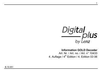 Information GOLD Decoder Art. Nr. / Art. no. / Art. n° 10433 4 ...