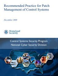 Recommended Practice for Patch Management of Control Systems