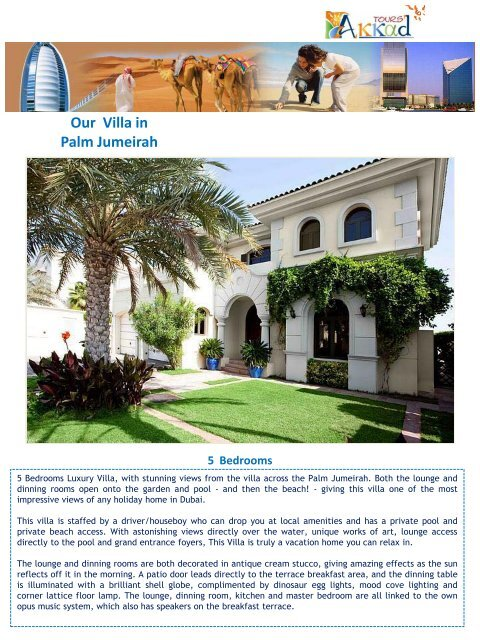Our Villa in Palm Jumeirah - Akkadtours.net