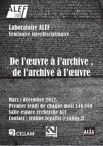 De l'œuvre à l'archive , de l'archive à l'œuvre - Université Rennes 2