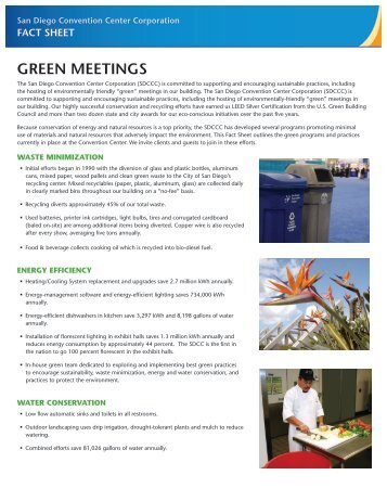 GREEN Fact Sheet PDF download - San Diego Convention Center