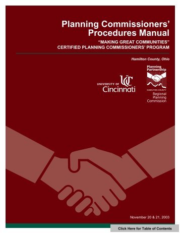 Planning Commissioners' Procedures Manual - Hamilton County, Ohio