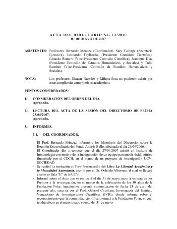Directorio del 07/05/2007 - CDCH-UCV
