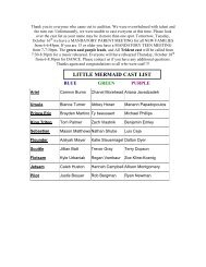 LITTLE MERMAID CAST LIST
