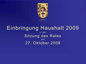 Einbringung Haushalt 2009