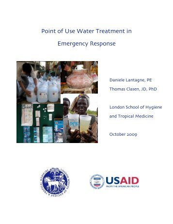 Point of Use Water Treatment in Emergency Response