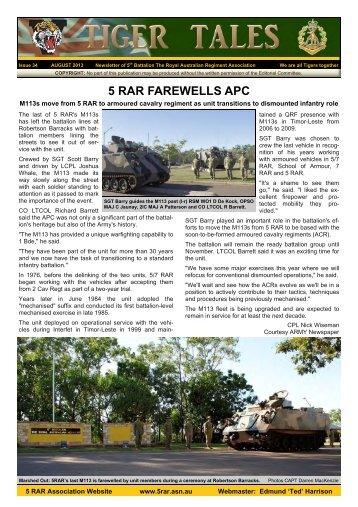 August 2013 Edition - Fifth Battalion Royal Australian Regiment