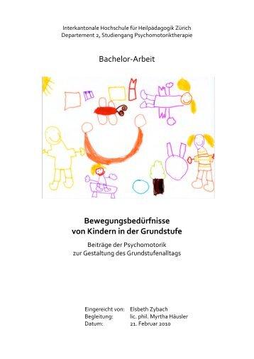 Bewegungsbedürfnisse von Kindern in der Grundstufe - BSCW