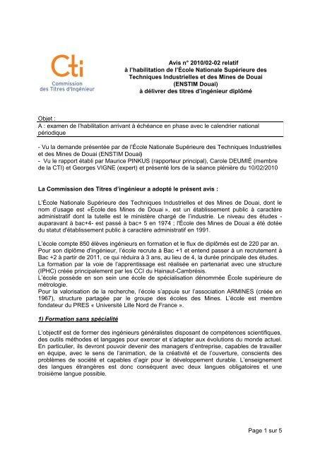 Avis Mines de Douai - Commission des Titres d'Ingénieur