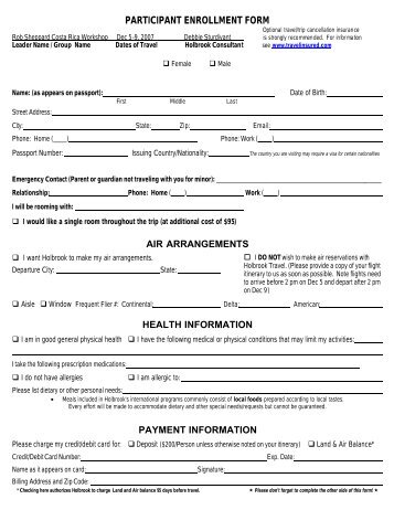 Holbrook Travel Participant Enrollment Form