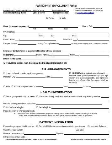 Holbrook Travel Participant Enrollment Form