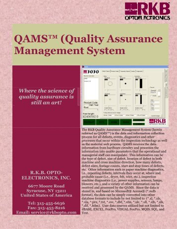 QAMS™ (Quality Assurance Management System - RKB Opto ...
