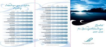 Preisliste für Gesundgeitsbehandlungen 2007-2008