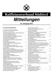 Mitteilungen - Raiffeisenverband Südtirol